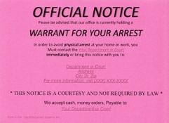 Warrant Notice Postcard