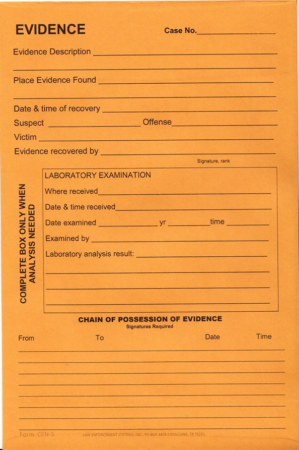 Evidence Envelope with Flap 6x9
