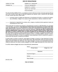 DIC-57S Notice of Disqualification (Spanish)
