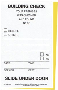 Building Check Card (2-part carbonless)