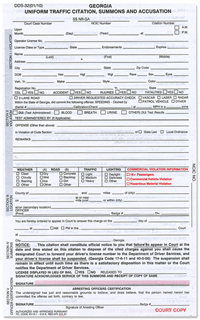 Georgia Uniform Traffic Citation